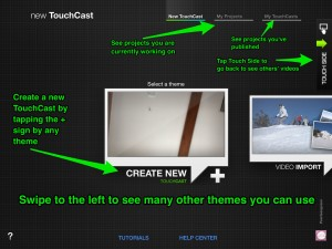TouchCast project screen